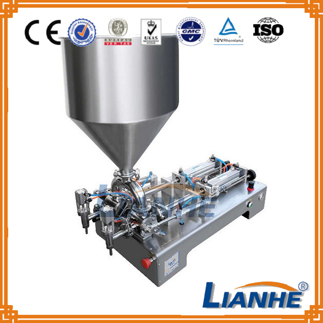 Semi automatic double heads piston filling equipment, 2 heads pneumatic liquid piston filler for honey, shampoo