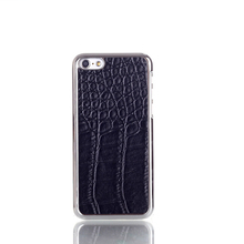 Luxury leather skin chrome case for iphone 6