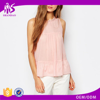 2016 Guangzhou Shandao Summer New Pattern Beautiful Pink Sleeveless Round Neck Chiffon Fashion Cutting Blouse Design For Ladies