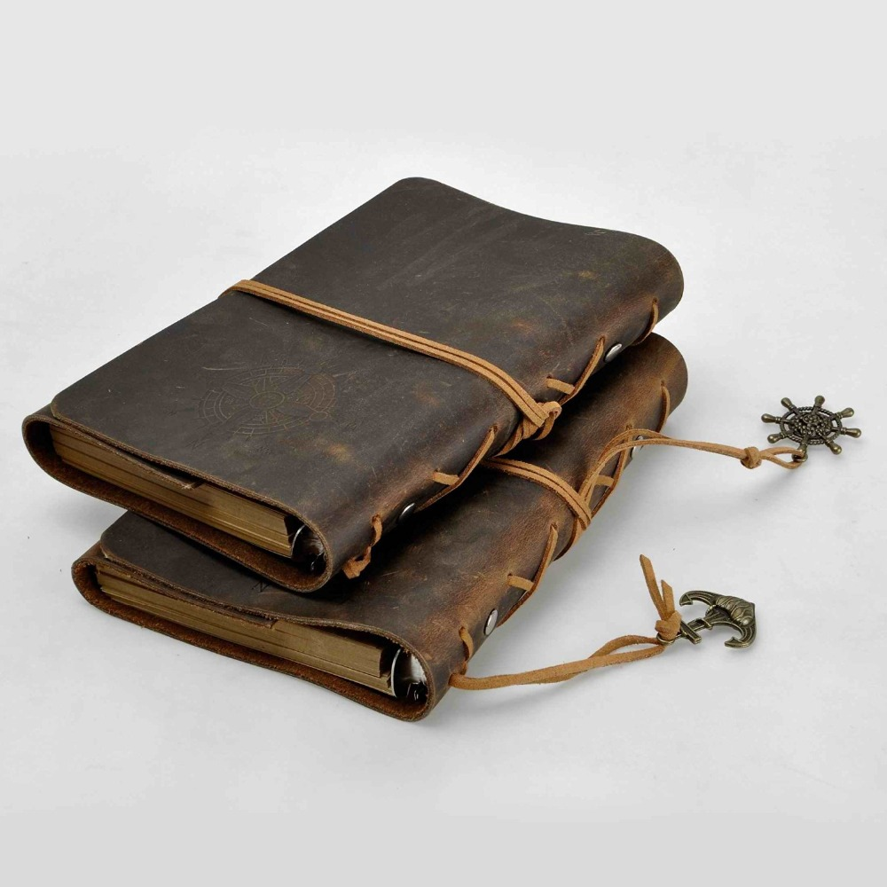 Portable vegetable tanned leather cover notebook expandable journal custom work notebook a5 diaries features replaceable paper