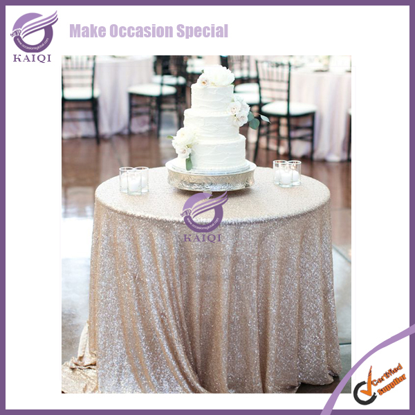 "18804 fancy shiny glitter cake gold sequins 132"" round table cloth"