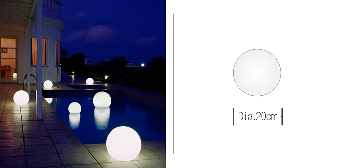 Diameter 20cm plastic color change outdoor waterproof christmas led light ball