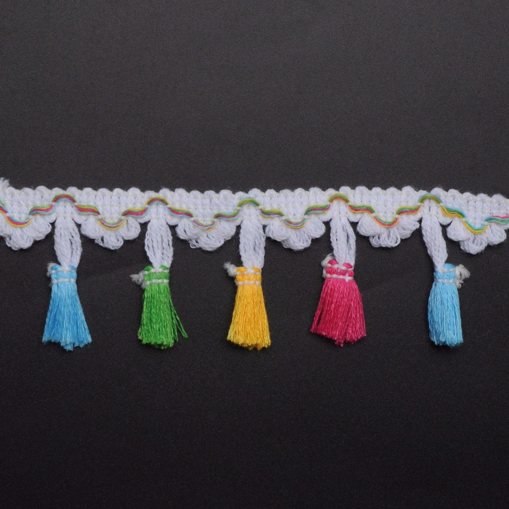 colorful pom pom fringe for garment accessories