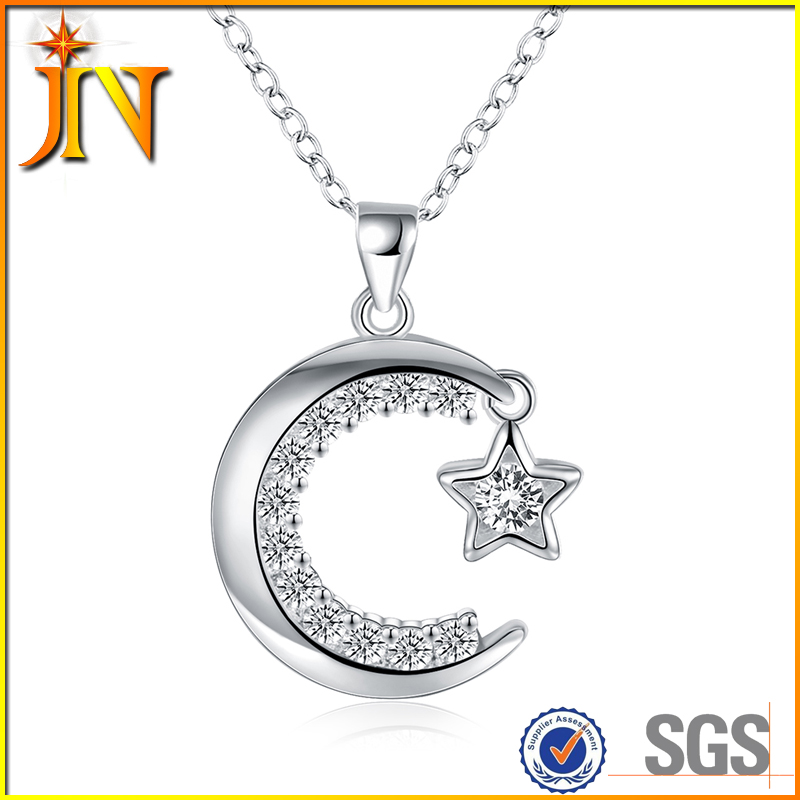 NL012 JN Fashion yiwu Moon&star pendant&Necklace copper alloy wholeasle For Women Romantic Style crystal pendant