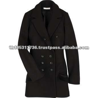 100% Wool Black Double Breasted Long Coat