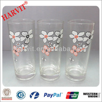 2014 Hot Sale Drinking Glass Tumbler/Shapely Cup Wth New Design/decal Glass mugs