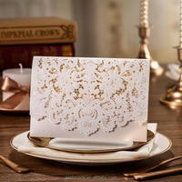 2016 unique Laser Cut arabic wedding / birthday invitation cards with Embossed Flower CW073