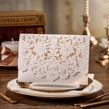 unique Laser Cut arabic invitation birthday cards with Embossed Flower