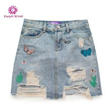 Women hot short ripped jeans skirts with high quality cotton denim skirt and embroidery butterfly for young girls