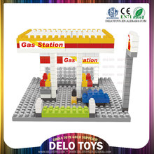 wholesale toy from china plastic building enlighten brick toys diamond blocks gas station gasoline station DE0260107