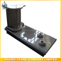 Haobo Stone Cheap Roof Design Cemetery Granite Monuments with Vases