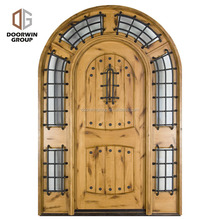 2018 Latest Design iron Glass insert Knotty Alder Wood Front Entry Doors designer Outside external door
