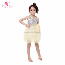 2017 Baby Sequin Lace Dress Sleeveless Ruffle Dress Girls Dress Picture