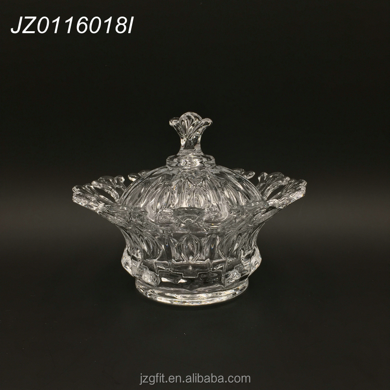 High-white material elegant royal crystal clear glass candy jar, glass sugar pot with lid