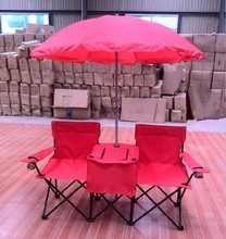 Folding Outdoor Double Beach Chair with Umbrella/Cooler