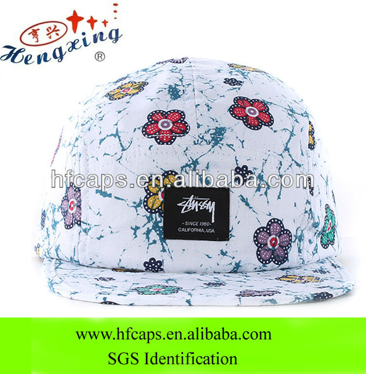 White floral customized blank 5 panel sublimation printed flat brim cap