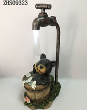 Funny Bear in Taking a Bath Solar Ornament Resin Character Statue