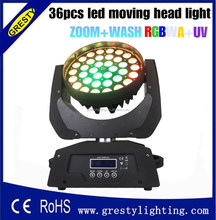 Fast moving items from china 36pcs 18w rgbwauv 6in1 moving head zoom wash