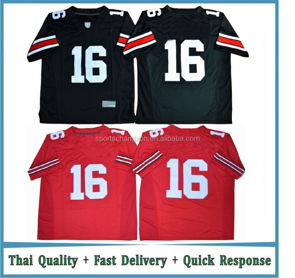 Custom Made Sublimation Black Red National College American Football Jersey