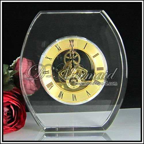 k9 wedding favor crystal clock,desktop clock with cut sheet for souvenir gift