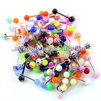 Mixed Color Acrylic Ball Tongue Ring