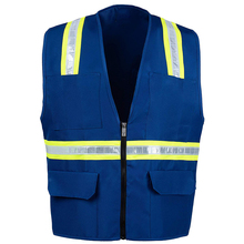 ZUJA Factory OEM Retail Twill Zipper Reflective Blue <strong>Safety</strong> Vest