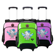 Bright Color Casual Cartoon Wheeled School Backpack