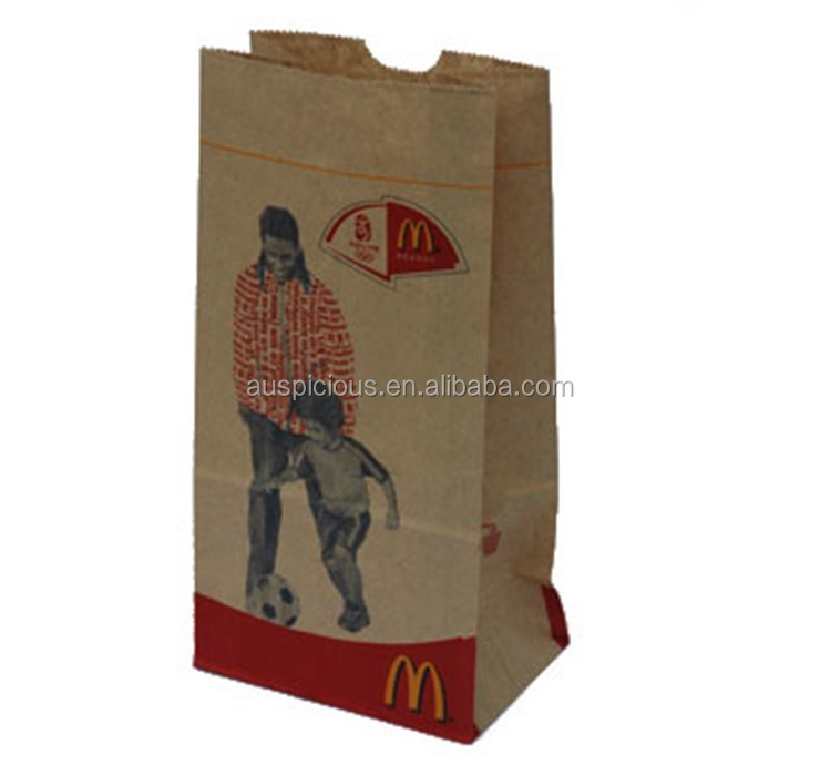 Burger king packing kraft paper bag for food grocery bag