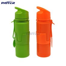 Promotional silicone PP travel water bottle easy carry heat/cold ring resistant holder 168g silicone bottle