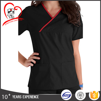 poly rayon spandex material composition hospital use nurse hospital uniform medical scrub uniform