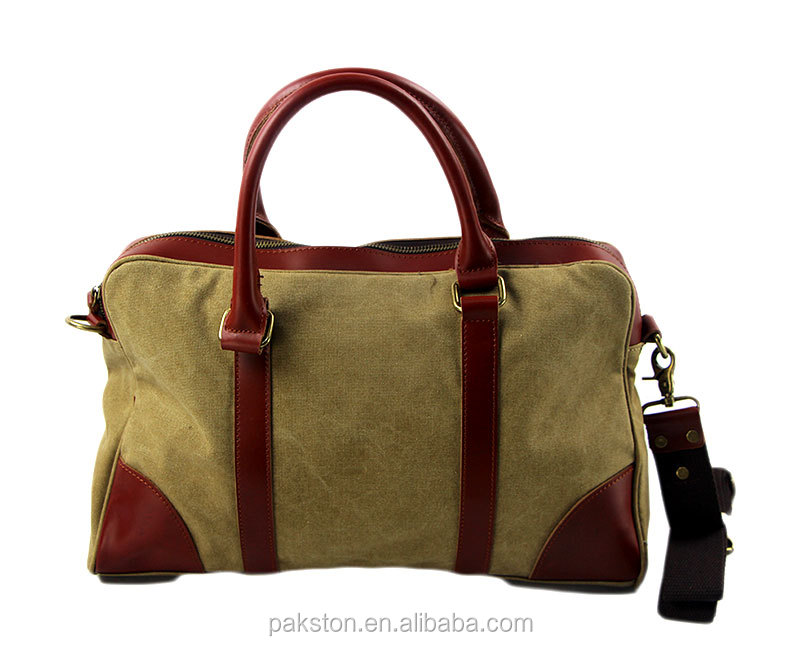 Hot selling vintage canvas travel bag leather handle canvas duffle bag for man