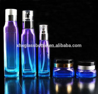 beautiful high-end design skin care cosmetic glass empty cream jar and lotion bottle purple coated cosmetic bottles wholesale