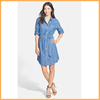 fashion ladies lapel collar blue dress waist belt long sleeve stylish dress D0055