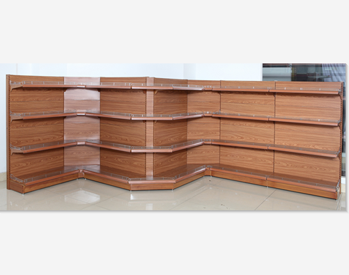 Heavy duty new design manufacturer luxurious style supermarket <strong>shelf</strong> with by wood grain corner