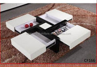 High Gloss MDF Modern Coffee Table With 4 Extra Storage