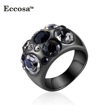 Wholesales 2016 black new design white purple stone crystal rings for women free shipping
