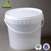 4l clear plastic bucket with lid for food storage for sale