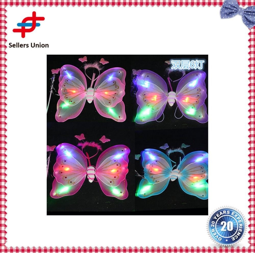 Wholesale double layer Princess led lighting fairy wings