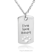 Positive energy live love adopt dog tag pendant necklace customized
