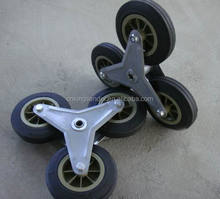 "3 wheel for stair climber cart 6"" solid rubber wheel"