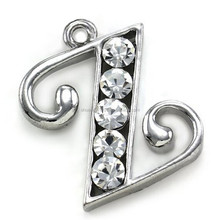 Wholesale initial Z letter charms rhinestones fashion jewelry for women gift