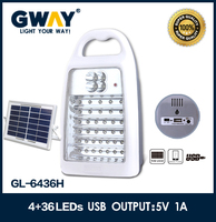 NEW ABS plastic 4 spotlight+36 LED with solar powered led and USB mobile charger outdoor emergency light