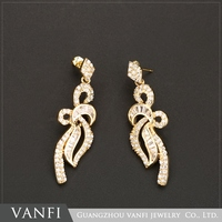 Hot new products dubai 18k gold jewelry pave zircon long earrings