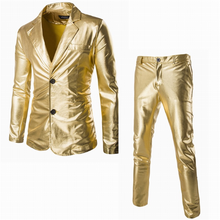 H30083C hot style gold fabric suit for mens glossy coat pant men suits