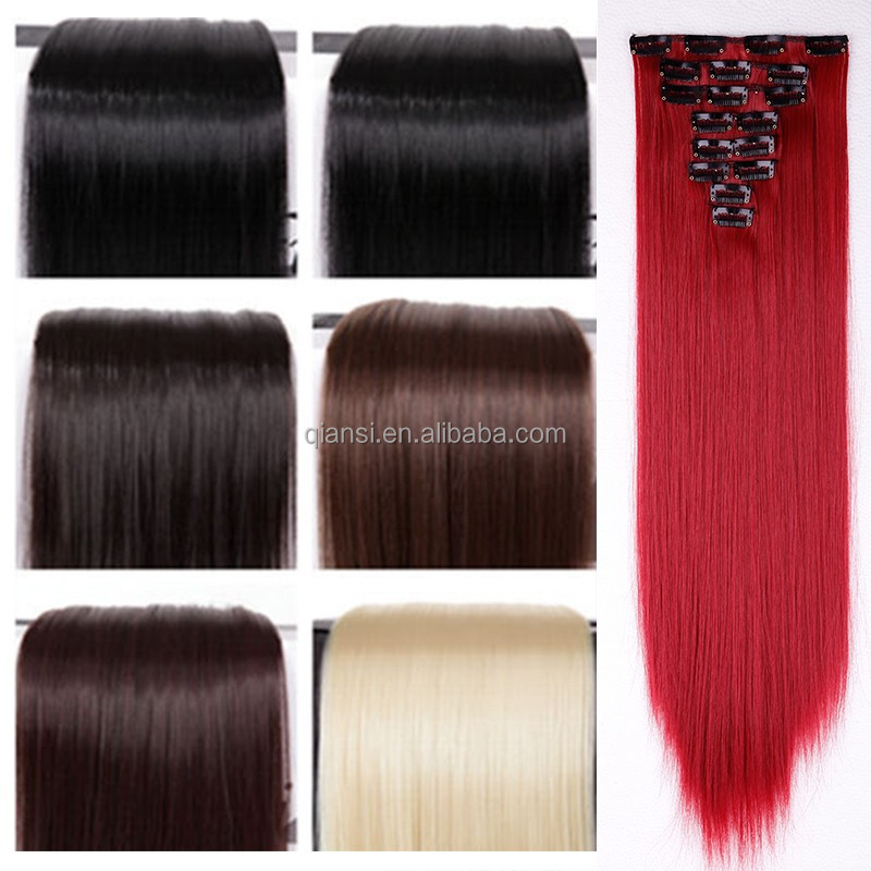 Long synthetic hair extensions straight clip in human hair extensions wholesale