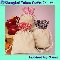 Custom unbleached cotton flat shopping bags with gingham pattern tops