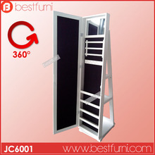 Floor free standing rotating mirror full length dresser mirror jewelry storage cabinet