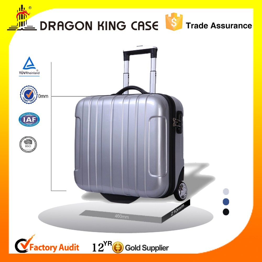 Silver PC and ABS trolley laptop bag, trolley case, 17 inch suitcase