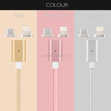 Braided Nylon Aluminum case Magnetic 2 in 1 Micro + 8 pins MFI USB Data Sync Charging Cable For samsung S6 S7 and for iphone