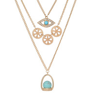 High Quality 18K Gold Plated Evil Eye Pendant Turquoise Beads 3 Layers Long Chain Necklace